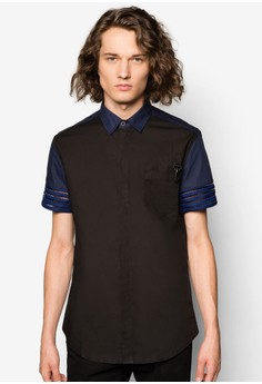 Mesh Short Sleeve Shirt With Clasp Hook