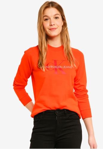 Calvin Klein red A-Satin Monogram Rel Sweatshirt - Calvin Klein Jeans AB9DDAAD887EBFGS_1