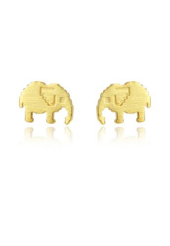 SUNRAIS gold High quality Silver S925 golden elephant earrings 0F1F0AC2BBC04BGS_1