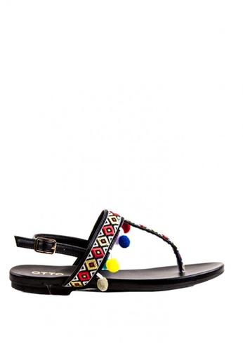 Otto black Pom Pom Sling Back Sandals OT407SH0J11XPH_1