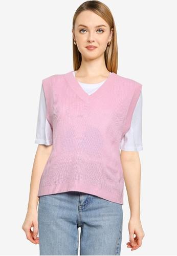 ONLY pink Adalee V-neck Vest B8B5CAA65F7485GS_1