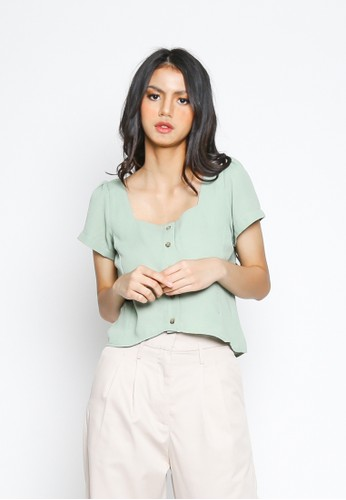 Valino green VALINO LADIES PALE MINT DIANA SQUARE NECK CROPPED BLOUSE 999C8AAD373E84GS_1