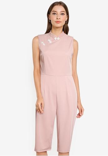 ZALORA OCCASION pink Mandarin Collar Culotte Jumpsuit E127DAA7BDD21CGS_1