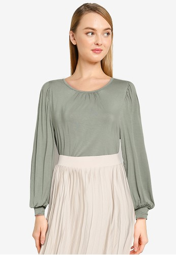 ONLY green Helen Long Sleeves O-neck Blouse 3BFE8AA2AD6AC5GS_1