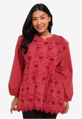 Gene Martino red Muslimah Top EF114AA3D28A9EGS_1