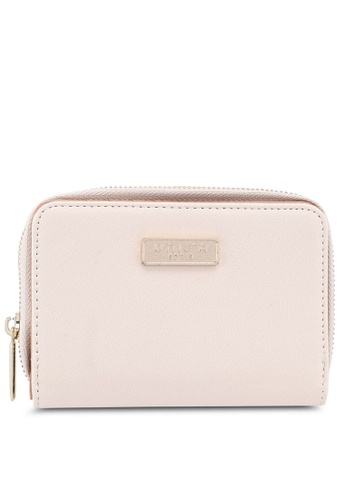 Unisa beige Saffiano Medium Ladies Zip-Up Wallet 68DDFACA6B8336GS_1