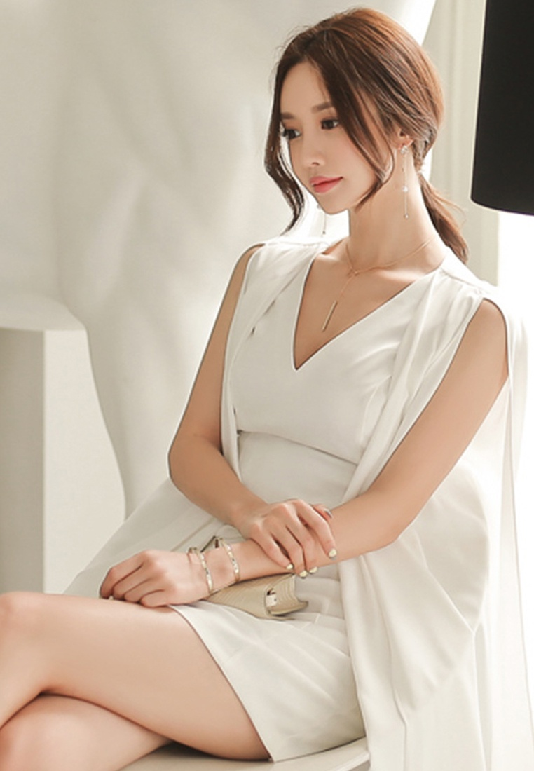 One Pencil White Dress A061233 Sunnydaysweety 2018 New White Piece wqCnE8IB