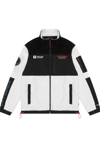 Fingercroxx white Panelled emblem zip jacket 5DA85AA4170197GS_1