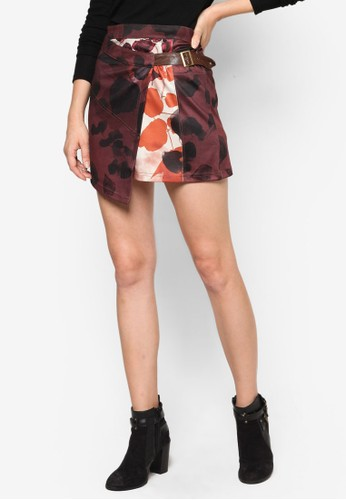 Casas 印花裹飾zalora鞋腰帶短裙, 服飾, 裙子