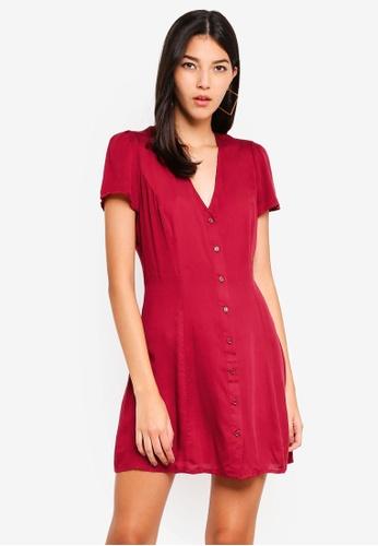 Glamorous red Button Up Mini Dress 774D8AA4DE67A2GS_1