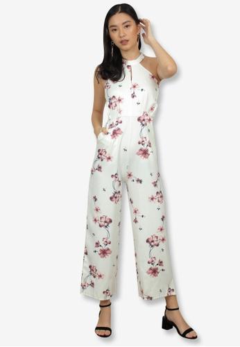 Caoros white Halter Floral Jumpsuit FED09AA6F2E4D0GS_1