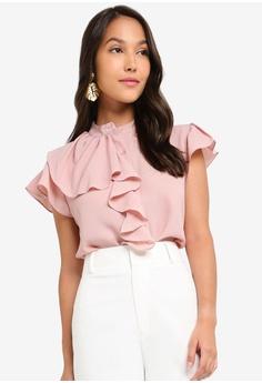 9c083d5b84e1 ZALORA pink Ruffle Front Detailed Blouse 6ACC0AA623971EGS_1