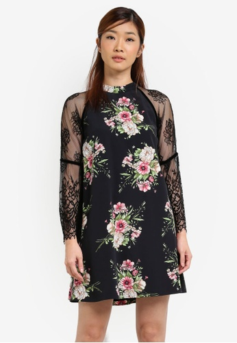 Something Borrowed black Lace Sleeve Swing Dress A6464AAF60E4D7GS_1