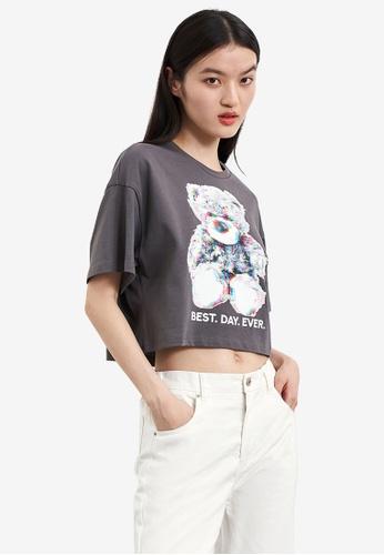URBAN REVIVO grey Printed T-Shirt 3248FAA64AA0D8GS_1