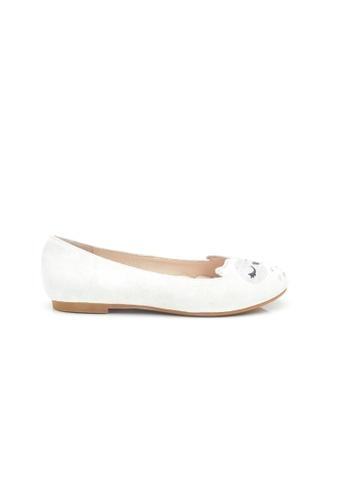 Elisa Litz white Owl Flats (White) 815B4SH3D2707FGS_1