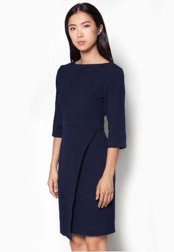 zalora是哪裡的牌子裹式七分袖連身裙, 服飾, 正式洋裝