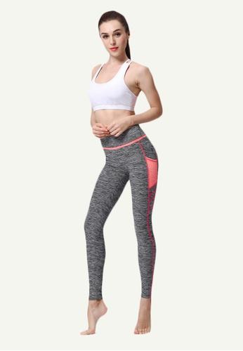 B-Code grey ZYG5024-Lady Quick Drying Running Fitness Yoga Sports Leggings-Grey 412AAAADB40022GS_1