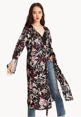 Pomelo black Chiyo Midi Floral Wrap Dress C5CABAA2A7C196GS_1