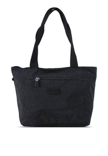 Bagstationz black Crinkled Nylon Tote Bag 5E3FFAC5D4C736GS_1