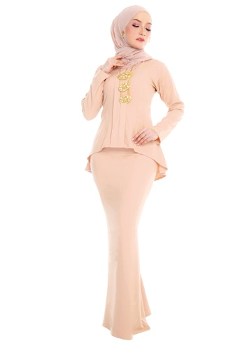 SARIMA white and brown and yellow and beige Kebaya Muslimah Fashion Cream Beige Light Brown FA615AA39F30A1GS_1