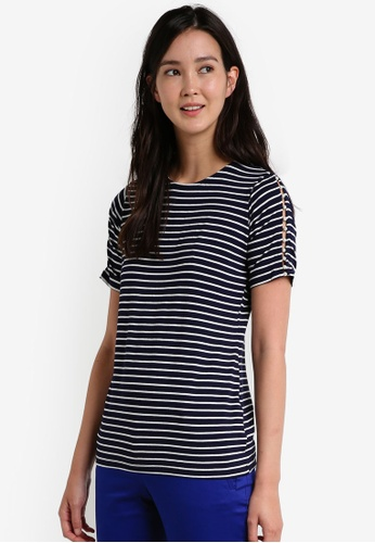 Dorothy Perkins navy Navy And Ivory Stripe Pearl Insert T-Shirt DO816AA0RCGZMY_1