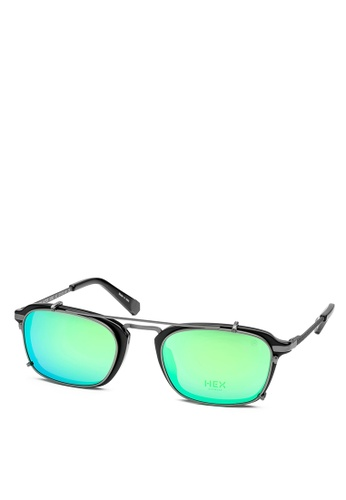 HEX EYEWEAR black and grey Actor - Damon - Optical with Clip-on - Made in Italy HE671AC2V1J1HK_1