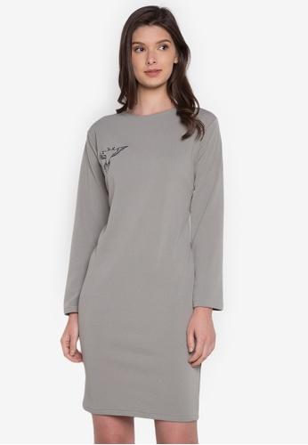 NEW ESSENTIALS grey John Herrera Longsleeved Jersey Dress NE239AA0JD36PH_1
