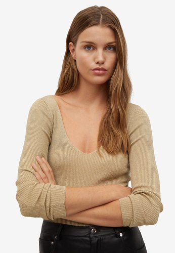Mango gold Glossed Effect Knit Sweater 4F0D5AAE7FE042GS_1