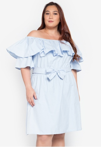 Hint blue Plus Size Off Shoulder Ruffle Design Dress HI373AA0KJ85PH_1