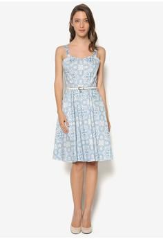 Tile Print Sweatheart Neck Skater Dress