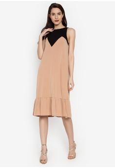 3262298ac6bf2 Ashley Collection beige Color Block Ruffle Hem Shift Dress  6CE95AA45133C6GS_1