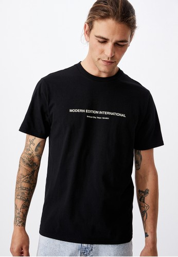 Cotton On black Tbar Text T-Shirt 8FAE3AAAB223A9GS_1