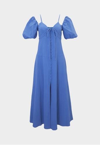 Pomelo blue Puffed Sleeves Neck Tie Dress - Blue 3BDD0AA32DBBD0GS_1