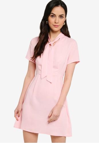 ZALORA WORK pink Pussybow Mini Dress F5C1EAAC45F8E5GS_1