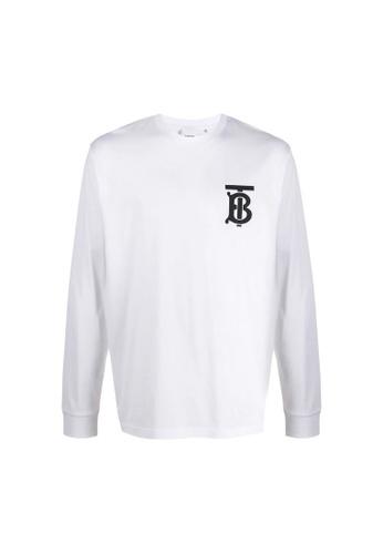 BURBERRY white Burberry Long Sleeve Monogram Motif T-Shirt in White 517EBAAD5B0175GS_1