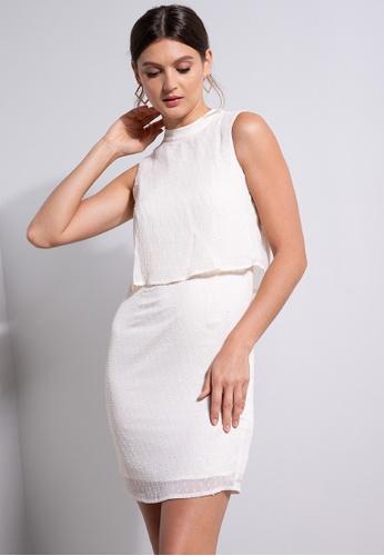 ZALORA OCCASION white Mock Neck Layered Dress 00726AA7069051GS_1