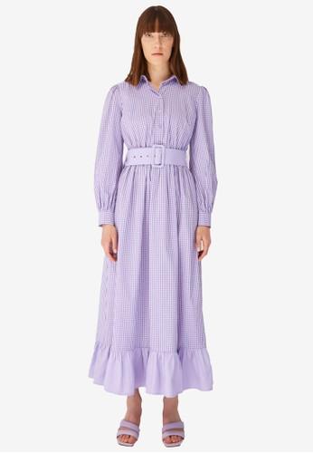 Trendyol purple Gingham Maxi Dress 868E3AACD0E3D5GS_1