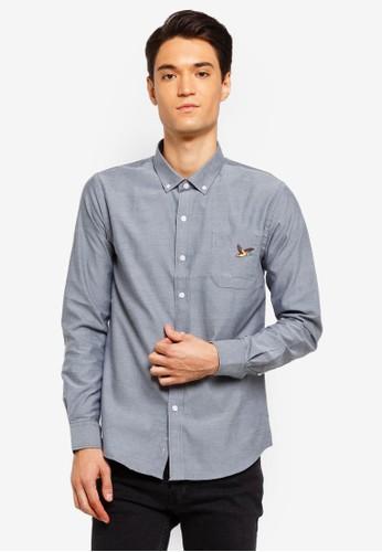 Brave Soul grey Bird Embroidered Long Sleeve Shirt B12BFAAAE7FEB0GS_1
