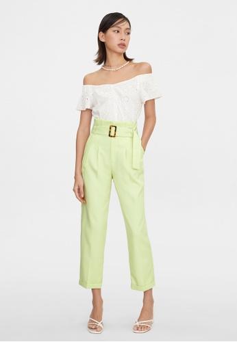 Pomelo yellow Tortoise Belt Cigarette Pants - Neon Yellow 6D365AA7FBCCE9GS_1