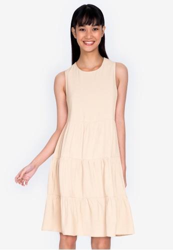 ZALORA BASICS beige Round Neck Sleeveless Babydoll Dress 86323AA9801751GS_1