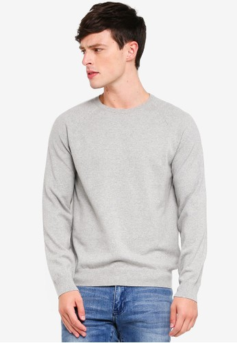 French Connection grey Stretch Cotton Crew Sweater 4ABC7AAC7E8511GS_1
