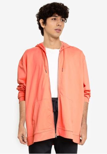 Only & Sons orange Zip Thru Hoodie 289FEAAC7AF2BFGS_1