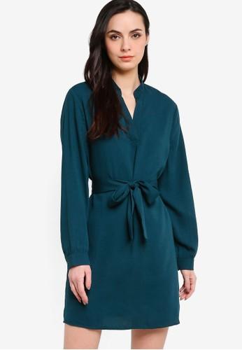 ZALORA WORK green Belted Mandarin Collar Dress 556C9AAA2903E2GS_1