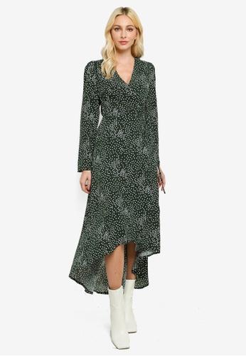 MISSGUIDED 綠色 前短後長Wrap 洋裝 Polka Dot 97524AA8EC4F67GS_1