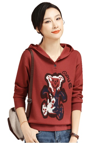 A-IN GIRLS red Fashion Printed Hooded Sweater D6F9BAA8F4BDB9GS_1