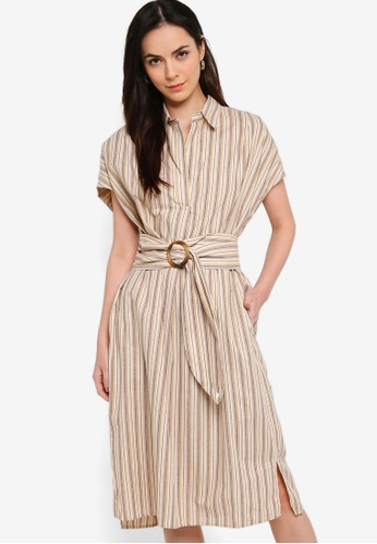 French Connection beige Verve Stripe Belted Dress DE992AA1345CA5GS_1