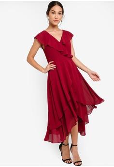 12304bea0ea83 ZALORA red Evening Ruffles Detail Midi Chiffon Dress FA0FFAAC2B6415GS_1