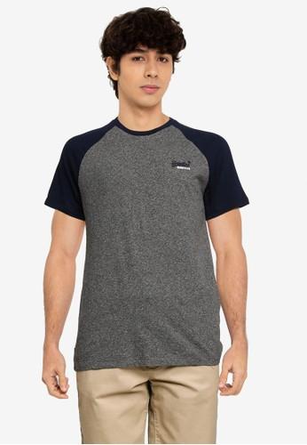 Superdry grey and navy Orange Label Baseball Short Sleeve Tee - Original & Vintage 20ED2AA801D213GS_1