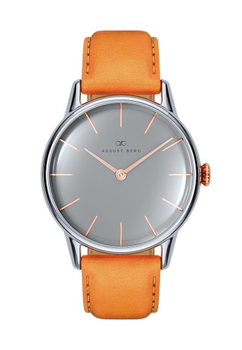 August Berg grey Serenity Nordic Granite Silver & Rose Gold - Light Brown Leather 32MM 7EA9CAC69C994CGS_1