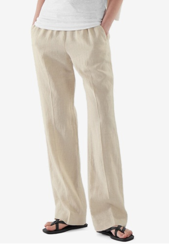 Cos beige Linen Elasticated Trousers 75165AAEA2D710GS_1